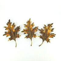 Home Interiors Oak Leaves 3 Brass Copper Metal Wall Decor Vintage Hanging
