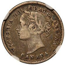 1870 Canada 10 Cents Narrow 0 Silver Coin - NGC VF 25 - KM# 3