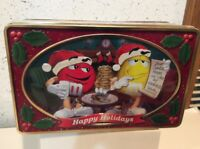 M&Ms Candy Cookie Christmas Holiday Tin Mars, Inc 3x6x9