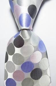 New Classic Dot White Gray Black Blue JACQUARD WOVEN 100% Silk Men's Tie Necktie