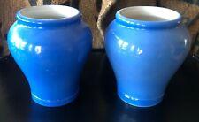 Vintage PAIR Fortnum and Mason Blue Pottery Honey Jar Pots!  CUTE!