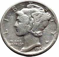 Mercury Winged Liberty Head  1942 Dime United States Silver Coin Fasces i48122