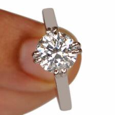 1.85CT Diamond Round Shape D/VVS1 14K White Gold Solitaire Engagement Ring