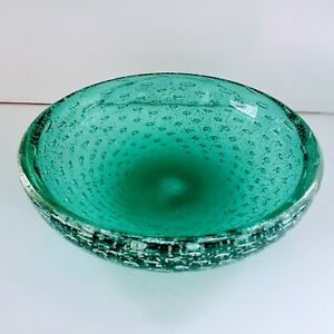 Vintage Murano Bullicante Aqua Blue Silver Aventurine Bowl Archimede Seguso