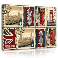 CANVAS Wandbild Leinwandbild Briefmarke Stadt Big Ben Telefonzelle 3FX10456O1