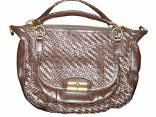 COACH KRISTIN WOVEN BROWN LEATHER ROUND SATCHEL HANDBAG PURSE BAG F19312