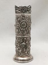 ART NOUVEAU Antique DERBY SILVER Vase QUADRUPLE SILVERPLATE Repousse Flowers