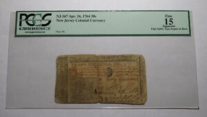 1764 Thirty Shillings New Jersey NJ Colonial Currency Bank Note Bill F15 PCGS 30