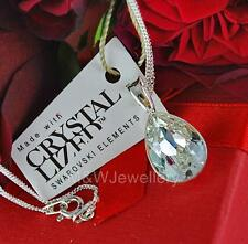 925 STERLING SILVER CHAIN NECKLACE PENDANT SWAROVSKI Elements PEAR CRYSTAL F
