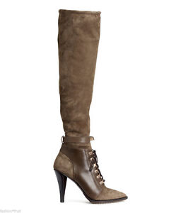 New H&M studio suede leather knee thigh boots size EU 37,38,39 khaki green olive