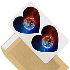 2 x Heart Stickers 10 cm - Earth Moon Space Nebula Galaxy  #44927