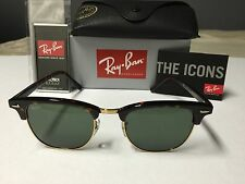New RayBan Clubmaster Genuine RB3016 W0366 Tortoise Frame Green Lenses 51mm