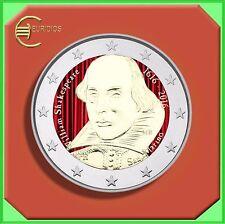 """2 Euro € Gedenkmünze San Marino 2016 Coin Coins """" Shakespeare """" coloriert"""
