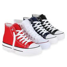 Damen Sneaker High Basic Canvas Turnschuhe Schnürer Freizeitschuhe 825899 Schuhe