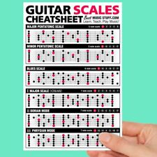 "Jumbo Guitar Scales CheatsheetQuick Reference (Laminated & Double Sided) 6""x 9"""