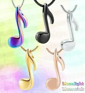New Music Note Urn Musical Cremation Pendant Ashes Holder Memorial Necklace