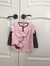 Sweet Potato girl pink and brown velvet tunic long sleeve top with legging sz 4