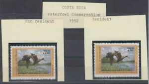 COSTA RICA 1992 WATERFOWL CONSERVATION 2.000 & 250C. FOR NON RESIDENT & RESIDENT