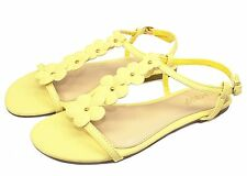 CALEB-10 New Flats Sandals Buckle Gladiator Party Beach Women Shoes Yellow 8.5