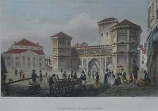 München Isartor alter kolorierter Stahlstich um 1850 gerahmt