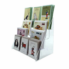 Clear Acrylic 4 Tier Greeting card Stand for Retail Display Counters (DS42/400)