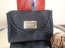Versace Parfumes Black Faux Leather Spiral Clutch Bag Purse