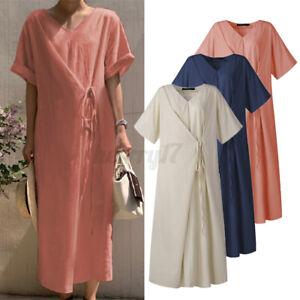 ZANZEA Womens Sundress Casual Short Sleeve Dress Pockets Cotton Lace-Up Dress