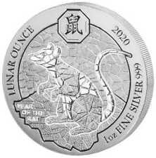 Ruanda Lunar 2020 Jahr der Ratte Year of the Rat 1 OZ Silber Silver Rwanda