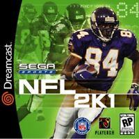 NFL 2K1 For Sega Dreamcast Football Very Good 4E