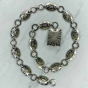 Silver Scalloped Concho Engraved Western Style Belly Body Chain Link Belt XS