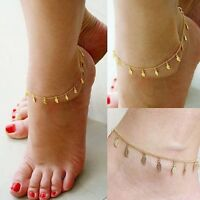 Beach Fashion LEAF Charm Gold Ankle Bracelet Chain Link Foot Anklet Jewelry-UK