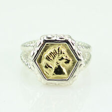 SLANE & SLANE 18K YELLOW GOLD & STERLING SILVER EPONA HORSE RING SIZE 5