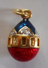 Russian Egg Pendant Imperial Blue and Red Faberge Inspired Egg Pendant-Russia