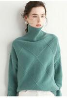 Damen Kaschmir Rollkragenpullover Pulli Strickpullover Pullover  Sweater NEW