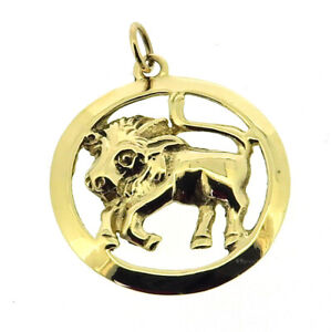 Taurus bull zodiac pendant solid 9Carat 9ct yellow gold round horoscope sign