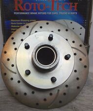 Roto-Tech Cross Drilled Slotted LH Front Brake Rotor Fits GM Car Family 79-86