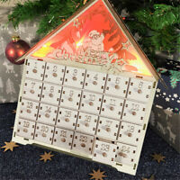 Wooden Advent Calendar Countdown Light Christmas 24 Pull-Out Drawers LED Lights