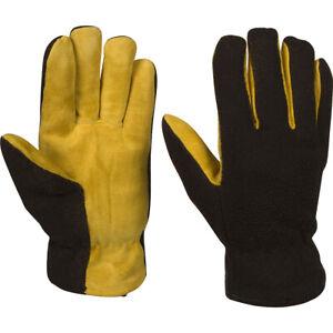 Warm Winter Work Gloves Deerskin Leather & Fleece, For Men, Women, Teens