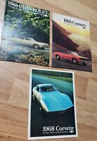 3 1968 Chevrolet Brochures corvette camaro impala ss