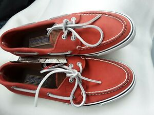 Sperry Top Sider Bahama NWOB Deck/Boat Shoes, Mens 8, Red Washable Leather