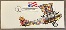 FDC FIRST DAY COVER USA FLAG WWI PLANE HAND-PAINTED COVER