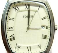 Fossil FS 4757 SS Brown Dial Date Beige Man Watch Leather Analog Quartz New Batt