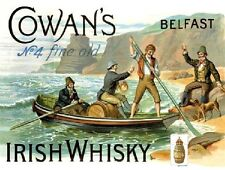 Cowan's Irish Whiskey, Belfast, Bar, Club, Pub, Restaurant, Small Metal Tin Sign
