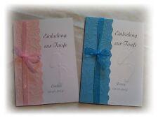 Einladungskarten zur Taufe in rosa oder blau mit Namen