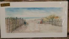 "Giclee Print Dunes Fence Ocean Shore ""BOOKENDS Kids Reading Beach PJ Teller PLAY"