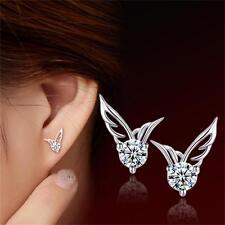 Jewelry Silver Plated Crystal Zircon Angel Wings Ear Studs Dangle Hook Earring