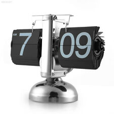 Black Retro Auto Flip Down Clock Internal Gear Operated Metal Stand 12 Hour