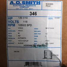 AO Smith Motor 346 1/8-1/10 HP 1050 RPM 2 SPD 115 Volt CCWLE CrRef Century TN-44