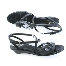 Cole Haan Black Patent Leather Strappy Slingback Sandals Shoes Buckle Women 10 B