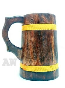 Handmade Mango Wooden Dark Brown Mug Beer Tankard Coffee Tea Drink Mug
